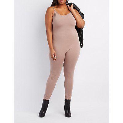 Plus Size Taupe Bodycon Jumpsuit - Size 3X