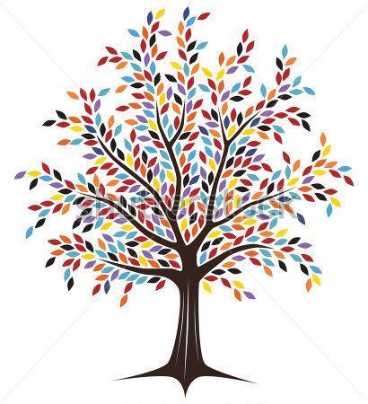 dise o vectorial editable del rbol con hojas colores