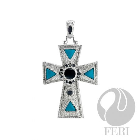 Silver Cross with Turquoise and Black Onyx set with white AAA Cubic Zirconia
