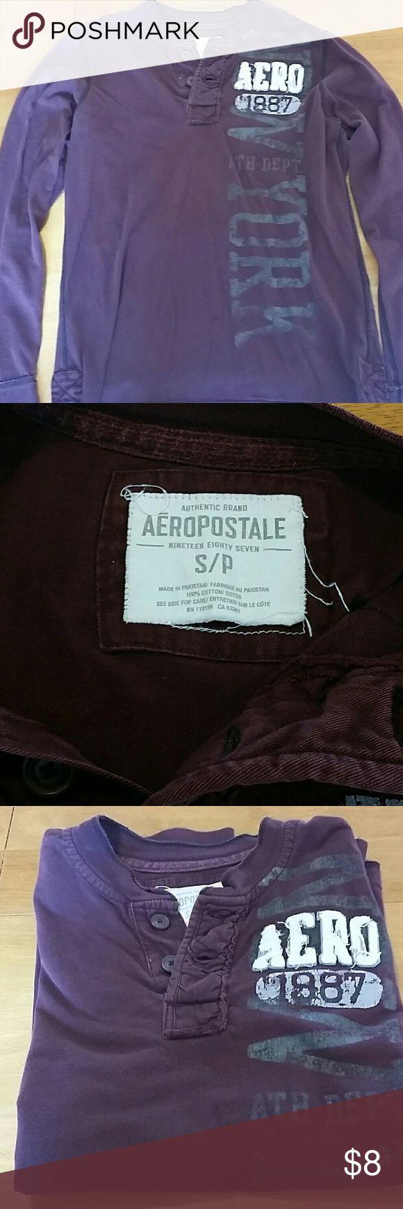 Mens AERO long sleeve shirt Mens Aeropostale long sleeve shirt, size small,no tears, no stains, deep burgandy color. Aeropostale Shirts Tees - Long Sleeve