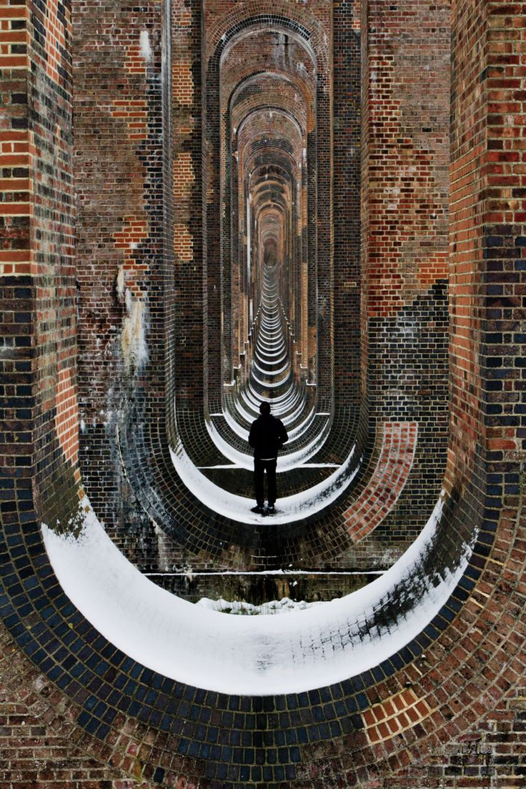 Through the arches of Balcombe viaduct in south UK. Extraordinary early 19C architecture.