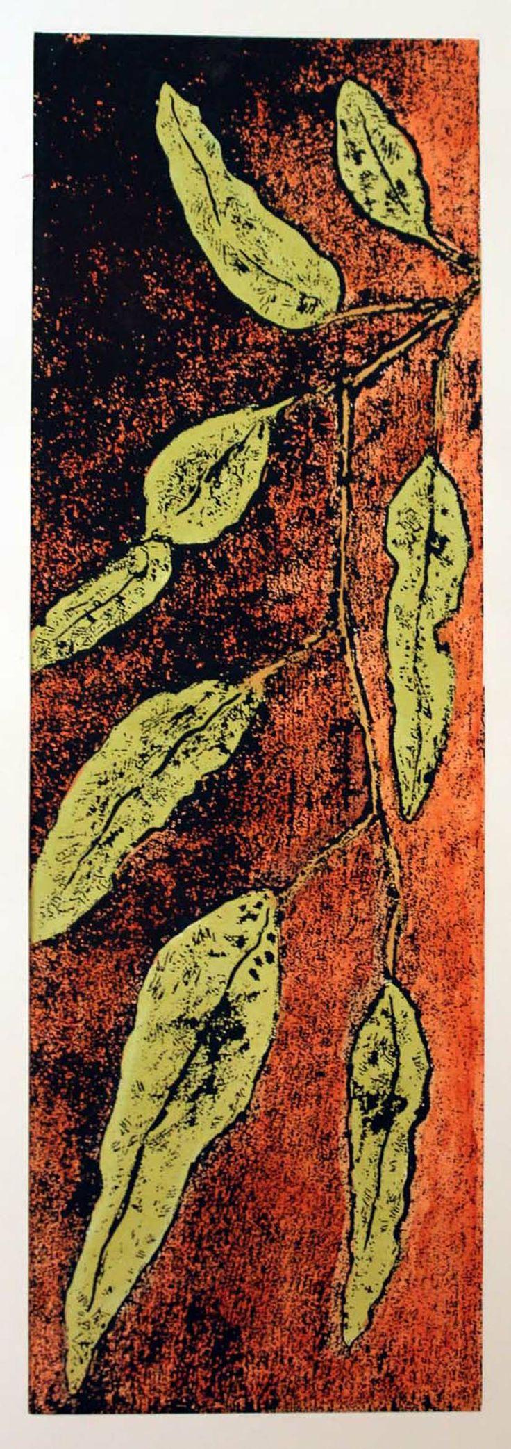 Gum Leaves Hand Colored Etching PrintmakingEtchings