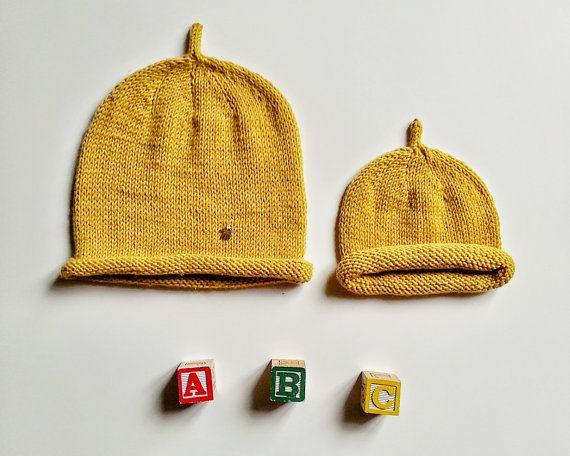 Hand knitted merino baby HAT with antenna Warm by YellowYarnyYak
