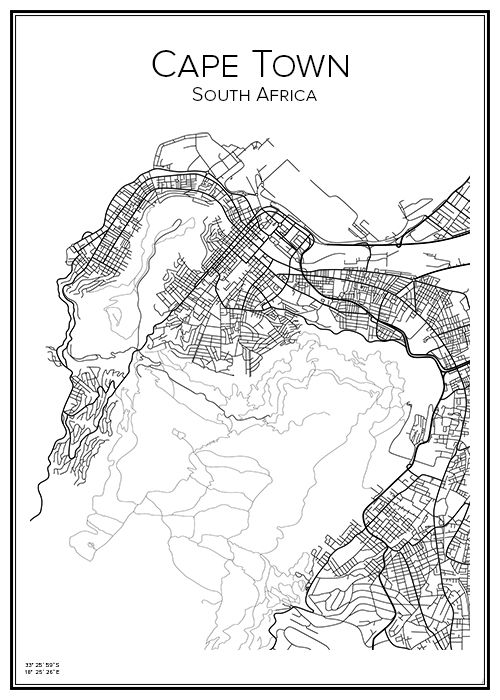 Cape Town. South Africa. Karta. City print. Print. Affisch. Tavla. Tryck.