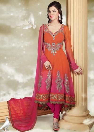 USD 123.45 Orange and Pink Chiffon Anarkali Salwar Kameez 30638