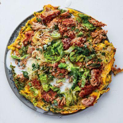 Taste Mag   Vietnamese scrambled eggs with pork mince, lettuce and herbs @ https://taste.co.za/recipes/vietnamese-scrambled-eggs-pork-mince-lettuce-herbs/