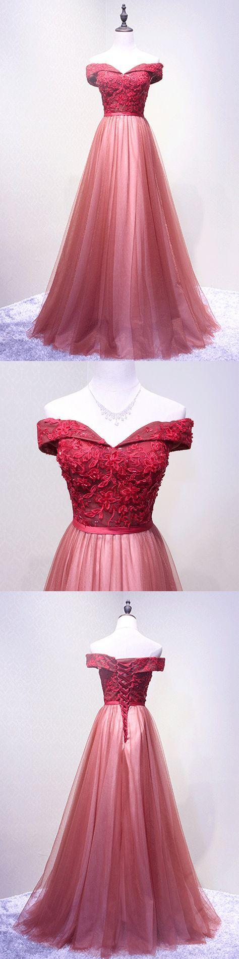 Long Prom Dresses, Tulle Prom Dresses, Elegant Party Prom Dresses, Off-Shoulder Evening Dresses, Lace Prom Dresses , Floor-Length Prom Dresses Online, LB0423