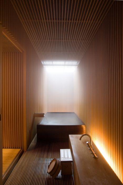 Ginzan Onsen Fujiya Hotel Bathroom designed by Kengo Kuma and Associates.