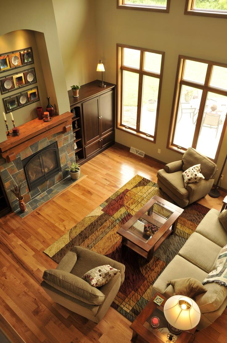 View Of Greatroom From Loft · Hickory BodenbelagHartholz BödenHolzbödenFamilienzimmerWohnzimerWohnzimmer  ...