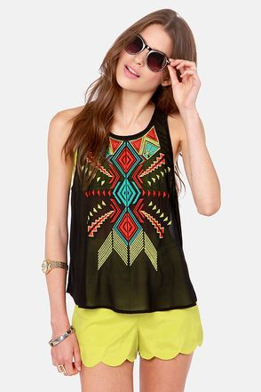 Embroidery Hoopla Black Sleeveless Top at LuLus.com!