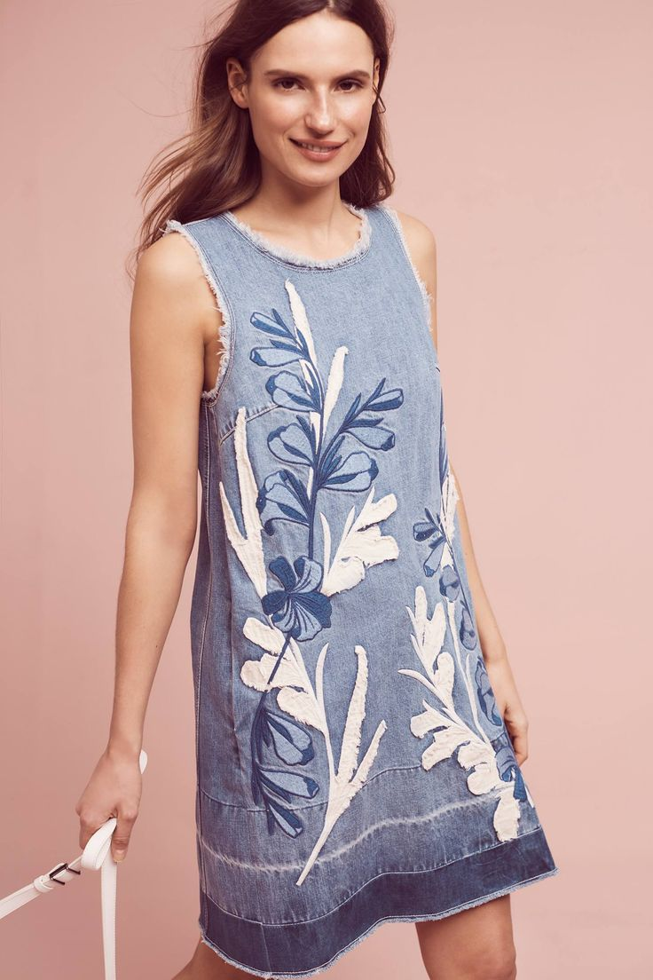Slide View: 3: Denim Leaves Shift Dress MUY BELLO