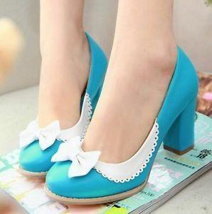 Ladies-Elegant-Bow-Tie-Colored-Block-High-Heel-Pumps-Court-Shoes-Plus-Size-916