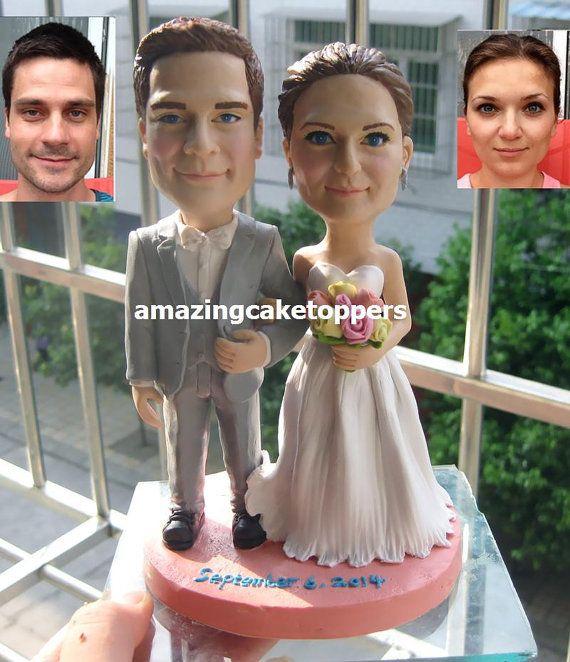 benutzerdefinierte Kuchen Topper lustige 3D Hochzeitstorte Topper Figur Kuchen Dekoration Hochzeit Andenken Bobble Kopf Figur   – tort