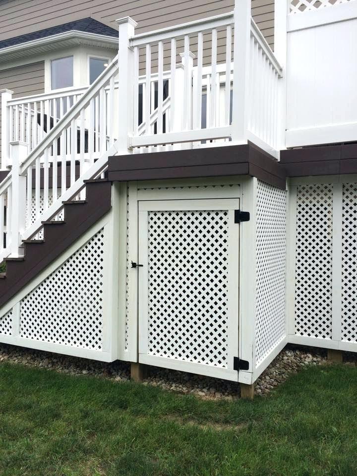 Lattice Under Deck Privacy Lattice With A Customized Door Creates Storage Space Under A Deck Deck Skirting Building A Deck Under Deck Storage