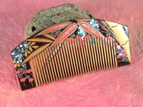"Vintage Lacquering Hair comb ""Kushi"" signature ""生芳"" /   Geisha hair combo  /Japanese vintage / Japonism  / Japón"