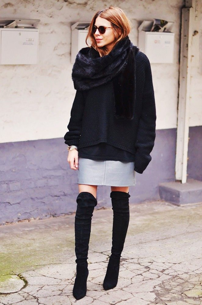 Slouchy black sweater and suede over-the-knee boots