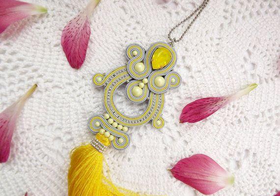 Long soutache pendant with tassel-Soutache от JaneEJewelry на Etsy