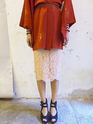 Wait and See presents KIMONO vintage SO NICE top ESSENTIEL skirt CHIE MIHARA shoes___*#vintage #kimono in red of course #sensuous #silk over a #lace #pencilskirt just as it should be - oh and #platform strappy heels are a nice touch of #femme #edge