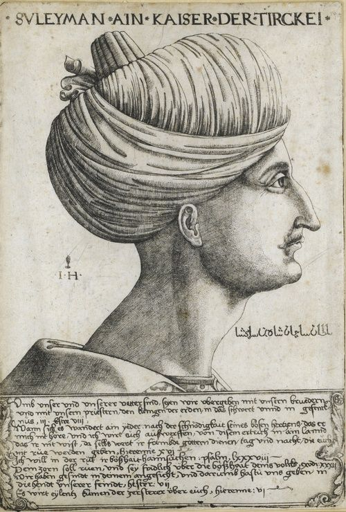 A Portrait of Sultan Suleyman the Magnificent (Hollstein 62), signed IH for Hieronymus Hopfer, Augsburg, circa 1530