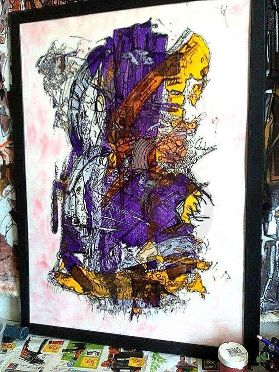 MASCOTTE (Peinture),  50x70 cm par Chris.SOPENA Acrylique, Technique Mixte  Support papier fort 350gr