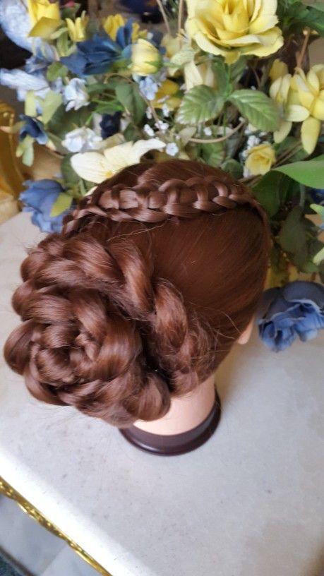 Line braid into flower bun ❤❤❤