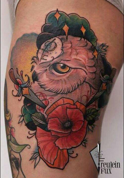 Owl and poppy flower- poppy is august birth flower