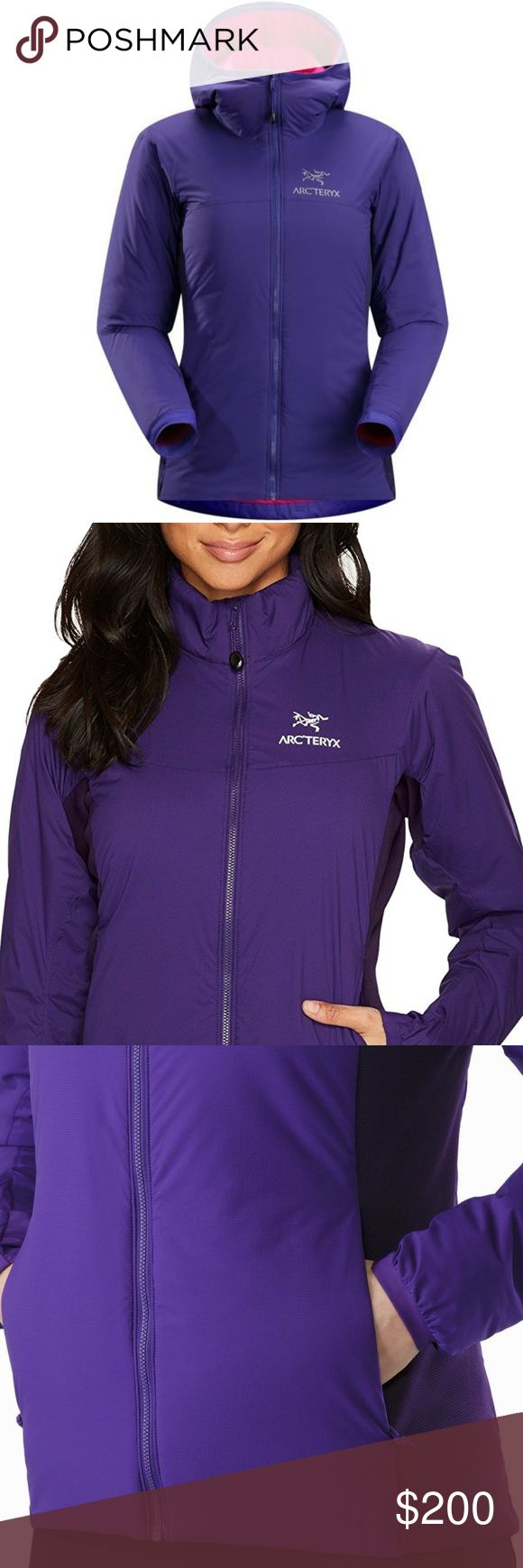 Arc'teryx Atom Hoody (purple) This Arc'teryx hoody is lightweight, breathable and insulated. Ideal as a stand-alone piece in fair weather, or as a layering piece in cold conditions.  Breathable, stretch side panels for enhanced comfort and mobility DWR (Durable Water Repellent) finish repels moisture. Retains warmth when damp.  Athletic fit, hip length.  Insulated, helmet compatible hood. Stretch knit cuffs.   Measurements Shoulder-top-hem: 23 inches (front) + 25 inches (back) Chest: 19…