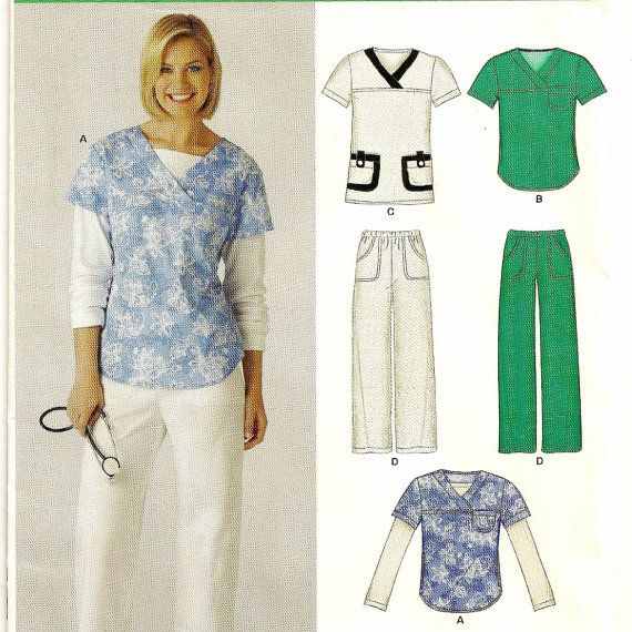 A Scrubs Pattern: Long or Short Sleeve Top and Straight Leg Elastic Waist Pants for Women