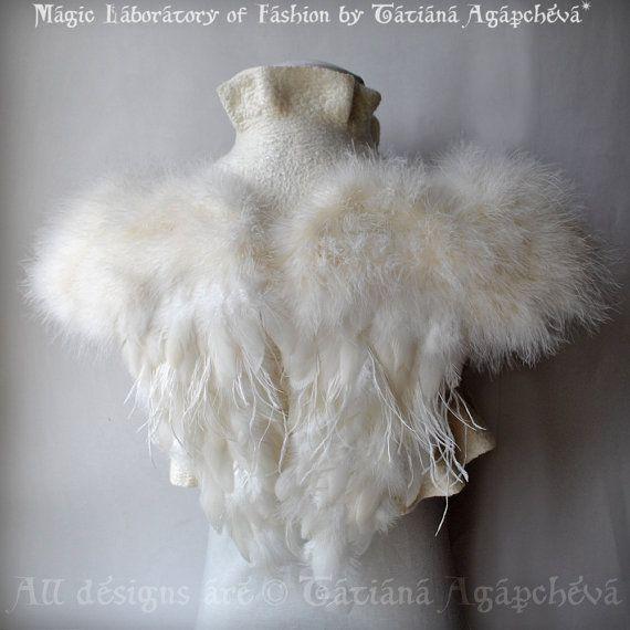 SWAN LAKE Bolero Shrug Bridal Feathers Wings Wedding by TianaCHE, $260.00