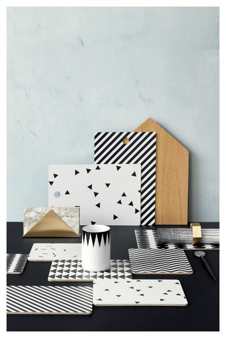 2014 Interior trend / Ferm Living geometric cutting boards / powdery pastel / black and white / Passion shake blog