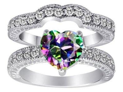 Original Star K(tm) 8mm Heart Shape Rainbow Mystic Topaz Wedding Set: Star K