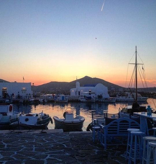 Dreamy sunset in Naoussa village at Paros island (Πάρος)