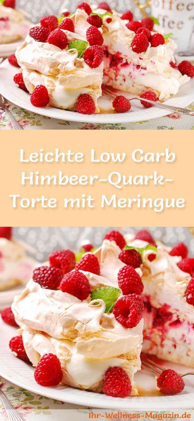 Rezept für eine leichte Low Carb Himbeer-Quark-Torte mit Meringue - kohlenhydratarm, kalorienreduziert, ohne Zucker und Getreidemehl
