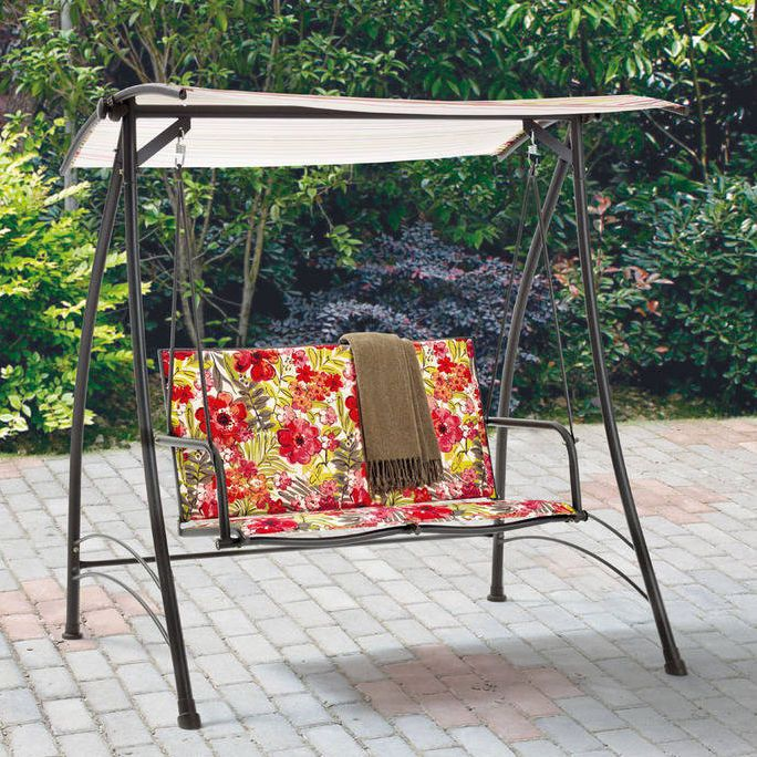 Outdoor Patio Swing With Canopy 2 Person Porch Loveseat Hammock Bench Furniture #PorchLoveseatSwing