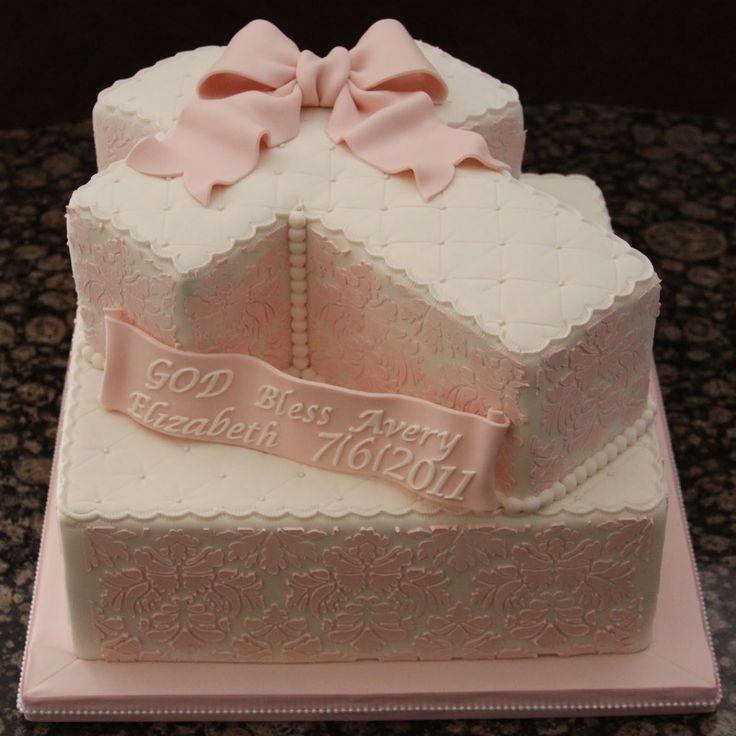 baptism cakes for girl   Damask Cross Baptism Cake