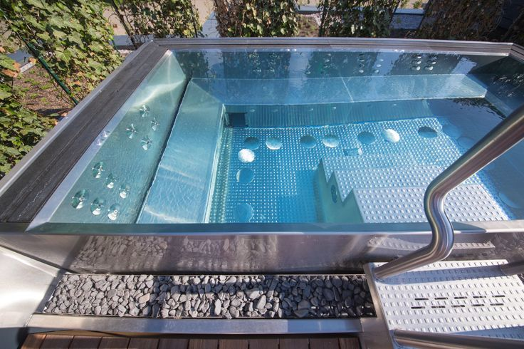 Detail of big stainless steel spa in hotel wellness
