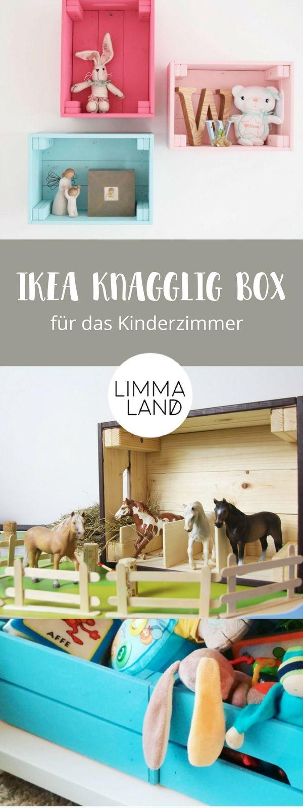 DIY Ideen für das Kinderzimmer: Die IKEA KNAGGLIG Box sieht fast aus wie eine Weinkiste und eignet sich prima für einen IKEA Hack für Kinder. Wir zeigen euch in unserem Blog was ihr tolles aus der Holzkiste basteln könnt. Vor allen die Ideen für das Kinderzimmer sind  total niedlich! Mit www.limmaland.com macht DIY Spaß! Kinderzimmergestaltung leicht gemacht.
