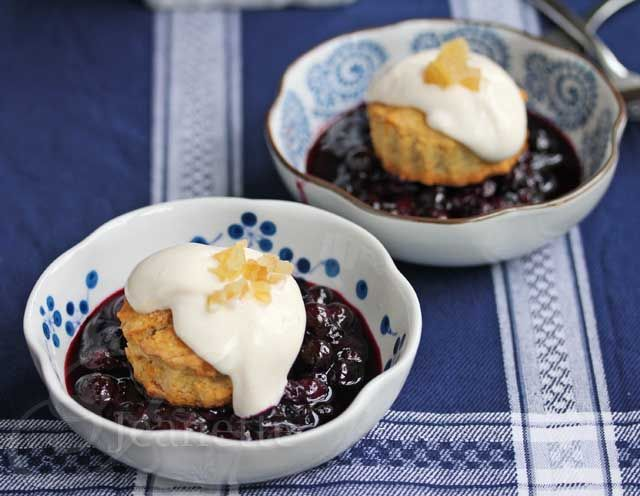 Gingered Blueberry Shortcakes with Light Creamy Topping Recipe - Jeanette's Healthy Living #SummerFest