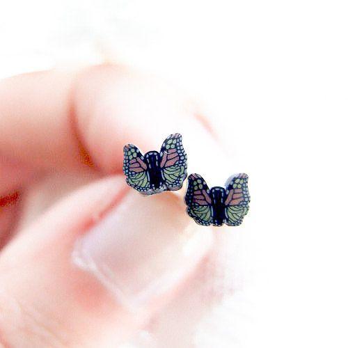 Little Autumn Butterfly Studs  black retro by LePetitParadisPerdu
