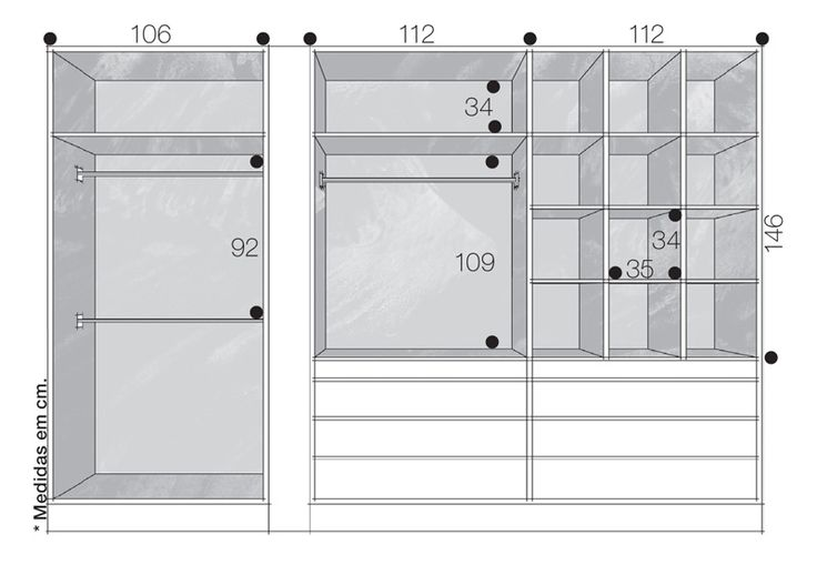 Closets e guarda-roupas bem organizados. Medidas para closet com nichos individuais para sapatos, cabides para camisas e calças, gavetas e nichos superiores.