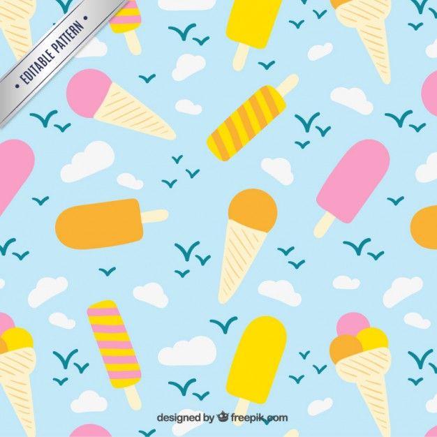 Free vector Ice creams pattern #14583