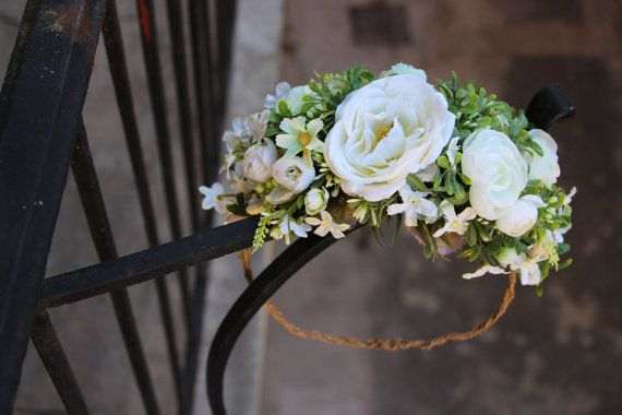 White roses floral headband floral wreath flower by FlorangeDeXeni