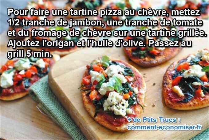 Une astuce pour faire plaisir au budget alimentation à la maison est de préparer une bonne tartine pizza au chèvre. C'est tout simple à cuisiner comme recette et en plus c'est trop bon en seulement 10 min !   Découvrez l'astuce ici : http://www.comment-economiser.fr/recette-pas-chere-simple-tartine-pizza-au-chevre.html?utm_content=bufferc2f61&utm_medium=social&utm_source=pinterest.com&utm_campaign=buffer