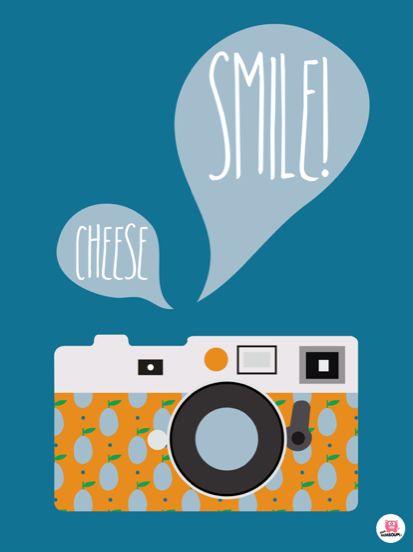 Affiche poster vintage appareil photo, smile. De boum badaboum. Disponible sur www.boum-badaboum.fr