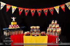 Kick Buttowski party buffet, kick cake