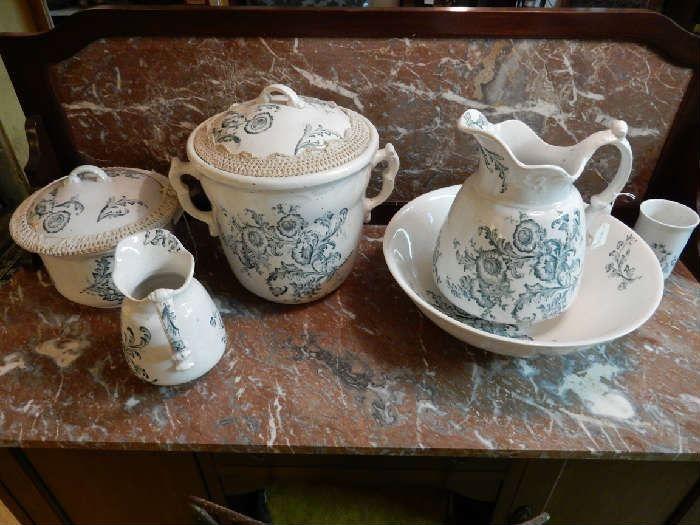 Found on EstateSales.NET: Mid 19th century heavy porcelain boudois set