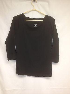 Jones-New-York-Sweater-Size-L-Long-Sleeve-Boat-Neck-Women-039-s-Black-Shirt
