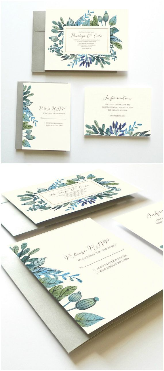 Printable Wedding Invitation Set // Succulents Leaves and Herbs // by Oak House Printable Designs