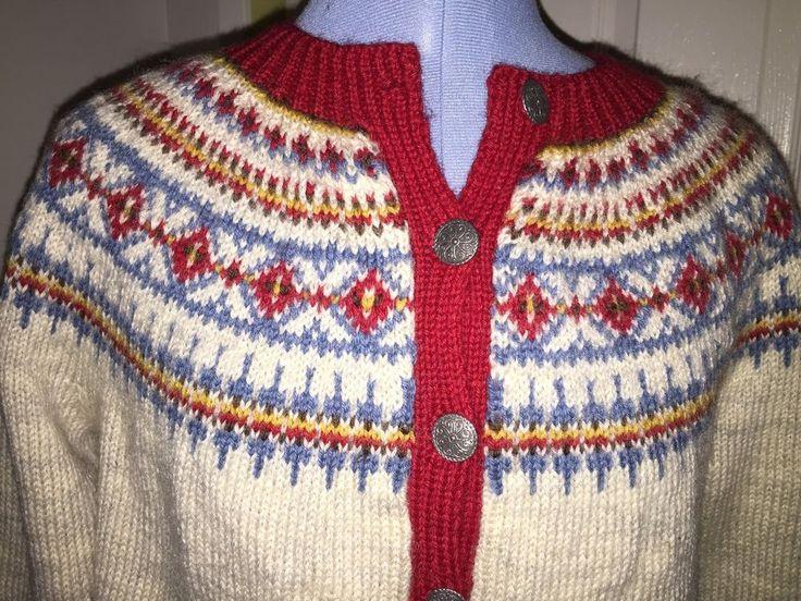 VTG Women's Bust Klover Huset HandKnit Pewter Button Wool Sweater Made in Norway #KloverHuset #Cardigan