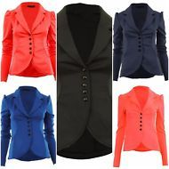 Womens 5 Five Button Front Ponte Bold Shoulder Ladies Blazer Jacket Coat